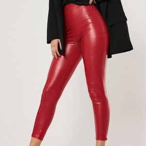 BRAND NEW red leather leggings